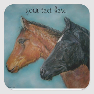 Two baby horses black foal chestnut foal portrait square sticker