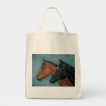 Two baby horses black foal chestnut foal portrait tote bag