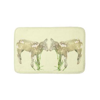 Two Baby Lambs on Yellow Bath Mat