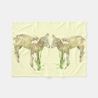 Two Baby Lambs on Yellow Fleece Blanket