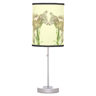 Two Baby Lambs on Yellow Table Lamp