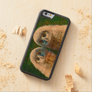 two baby owls wood phone case
