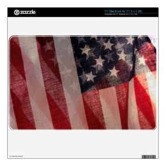two backlit USA flags MacBook Air skin