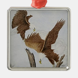 Two Bald Eagles in Flight Christmas Ornaments