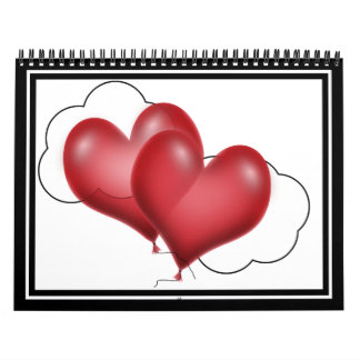 Two Balloon Hearts With Cloud Calendar