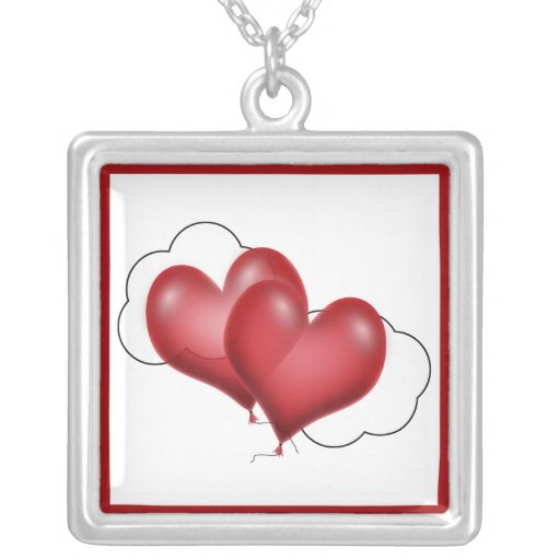 Two Balloon Hearts With Cloud Necklaces