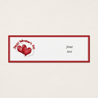 Two Balloon Hearts With Cloud Valentine Mini Business Card