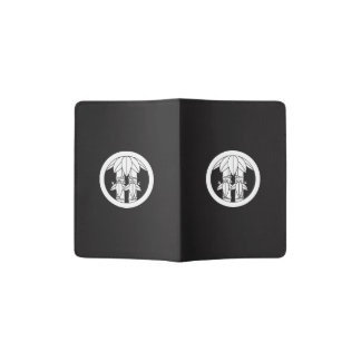 Two bamboos with bamboo leaves in circle passport holder
