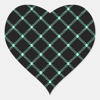 Two Bands Small Diamond - Aquamarine on Black Heart Sticker