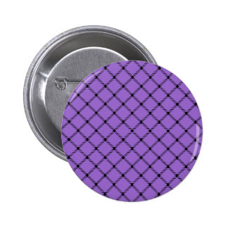 Two Bands Small Diamond - Black on Amethyst Pinback Buttons