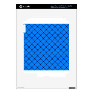 Two Bands Small Diamond - Black on Azure iPad 3 Skin