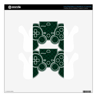 Two Bands Small Diamond - Black on Dark Green Decal For PS3 Controller