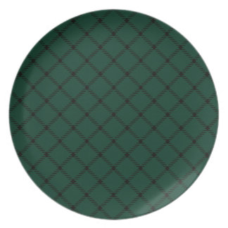 Two Bands Small Diamond - Black on Dark Green Dinner Plate