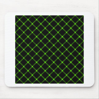 Two Bands Small Diamond - Bright Green on Black Mouse Pad