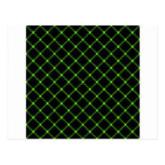 Two Bands Small Diamond - Bright Green on Black Postcard