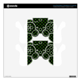 Two Bands Small Diamond - Bright Green on Black PS3 Controller Skin