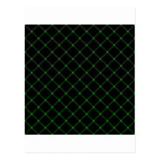 Two Bands Small Diamond - Green on Black Postcard