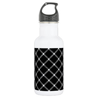 Two Bands Small Diamond - White on Black Stainless Steel Water Bottle