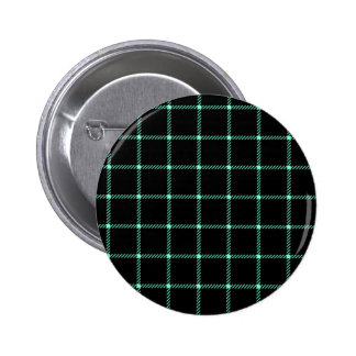 Two Bands Small Square - Aquamarine on Black Pinback Buttons