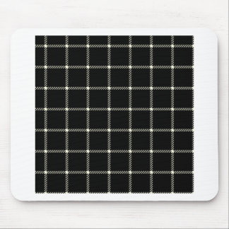 Two Bands Small Square - Beige on Black Mouse Pad
