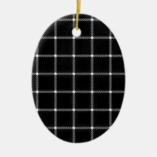 Two Bands Small Square - Beige on Black Double-Sided Oval Ceramic Christmas Ornament