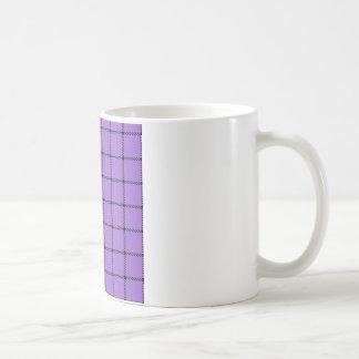 Two Bands Small Square - Black on Amethyst Coffee Mug
