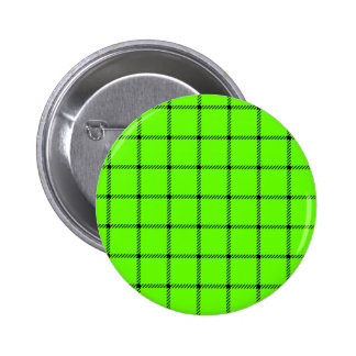 Two Bands Small Square - Black on Bright Green Pinback Button