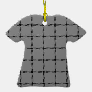 Two Bands Small Square - Black on Gray Double-Sided T-Shirt Ceramic Christmas Ornament