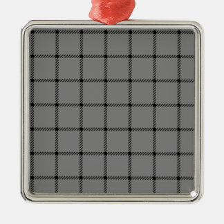 Two Bands Small Square - Black on Gray Square Metal Christmas Ornament