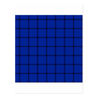 Two Bands Small Square - Black on Imperial Blue Postcard
