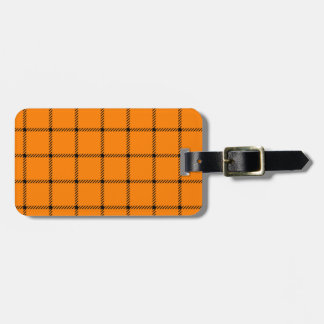 Two Bands Small Square - Black on Orange Luggage Tags