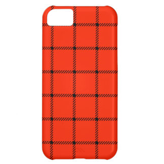 Two Bands Small Square - Black on Scarlet Cover For iPhone 5C
