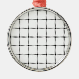 Two Bands Small Square - Black on White Round Metal Christmas Ornament