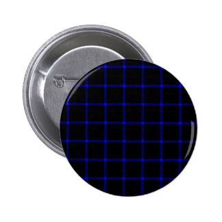 Two Bands Small Square - Blue on Black Pinback Button