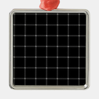 Two Bands Small Square - Gray on Black Square Metal Christmas Ornament