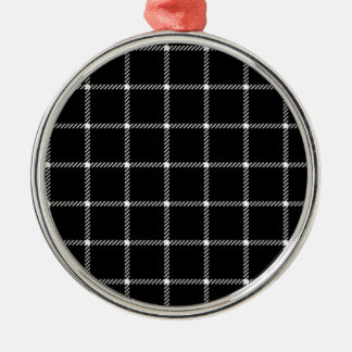 Two Bands Small Square - Honeydew on Black Round Metal Christmas Ornament