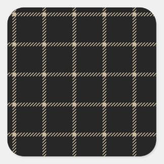 Two Bands Small Square - Khaki on Black Square Sticker