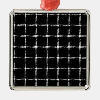Two Bands Small Square - Light Gray on Black Square Metal Christmas Ornament