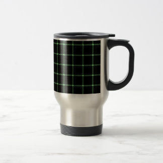 Two Bands Small Square - Light Green on Black Travel Mug
