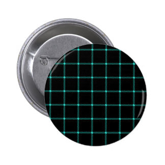 Two Bands Small Square - Turquoise on Black Pinback Buttons