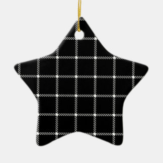 Two Bands Small Square - White on Black Double-Sided Star Ceramic Christmas Ornament