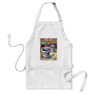 Two Barber Chairs With Pink Striped Barber Capes Adult Apron