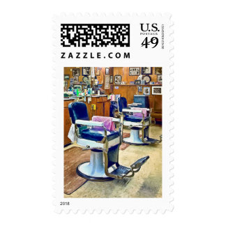 Two Barber Chairs With Pink Striped Barber Capes Postage