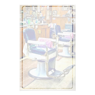 Two Barber Chairs With Pink Striped Barber Capes Stationery