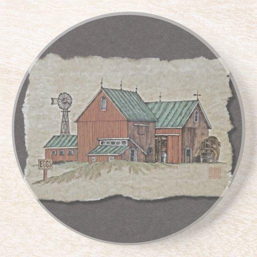 Two Barns & Hay Wagon Drink Coaster
