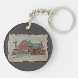 Two Barns & Hay Wagon Keychain