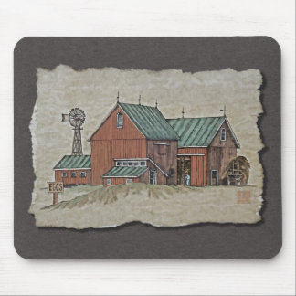 Two Barns & Hay Wagon Mouse Pad
