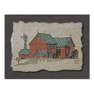 Two Barns & Hay Wagon Postcard
