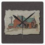Two Barns & Hay Wagon Square Wallclocks