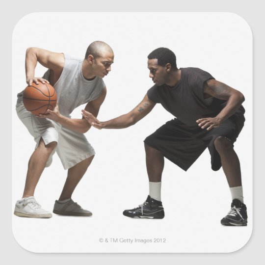 Two basketball players 2 square sticker